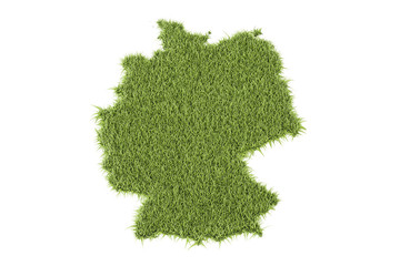 Germany map from green grass, 3D rendering