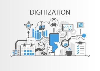 Digitization concept as background vector illustration