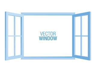 Blue vector window template, isolated on background. Two-sided opened window mockup.