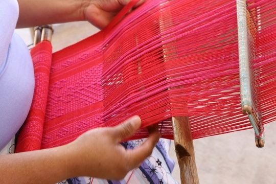A Woman ist weaving near Oaxaca