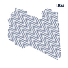 Vector abstract wave map of Libya isolated on a white background.