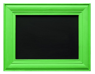 Green picture frame with blackboard inner, isolated on white background.