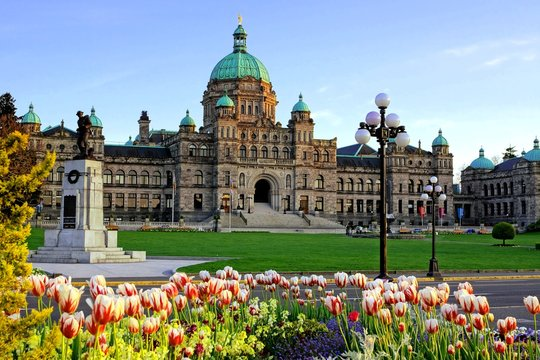 Historic British Columbia provincial parliament building with spring tulips, Victoria, BC, Canada