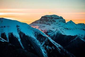 Last Light on Edge of Mountaintop