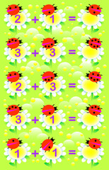 Educational page with exercises for children on addition. Solve examples. Write the numbers on relevant flowers. Developing skills for counting. Vector image.