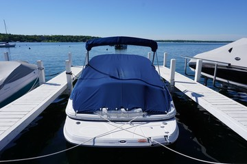 Docked Speed Boat, Blue Cover - Sunny Day - Summertime