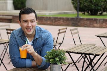 Man enjoying a nice drink outside