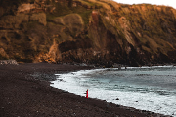 Red Dress Woman Walks on Beach