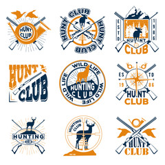 Vector set of badge hunting club for your design, print or internet on a white background