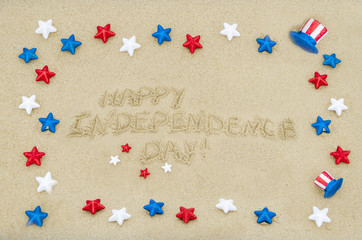 Independence USA day background on the beach