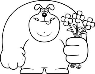 Cartoon Dog Flowers
