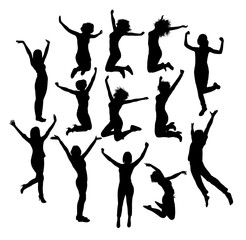 Businessman Jumping In Air Silhouettes, art vector design