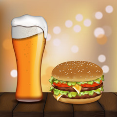 beer and burger. vector illustration