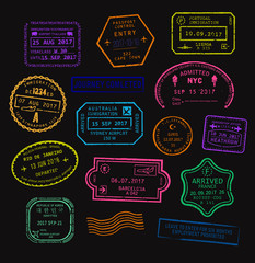 Vector set of colorful passport visa stamps in neon color.