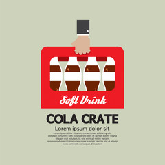 Flat Design Cola Crate In Hand Vector Illustration