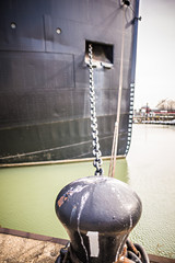 large and heavy anchor chain of a huge ship