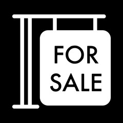 For sale symbol simple vector icon. Black and white illustration of sale. Solid linear house for sale icon.