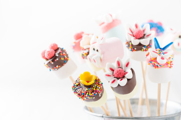 cute marshmallow on skewer food
