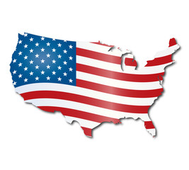American Flag and map outline