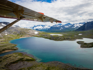Aerial view of Katmai National Park wilderness from sea plane