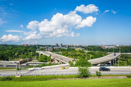 View of the Jones Falls Expressway from Druid Hill Park, in Baltimore, Maryland.
