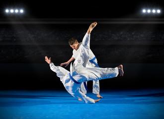 Garden Poster Martial arts Two boys martial arts fighters
