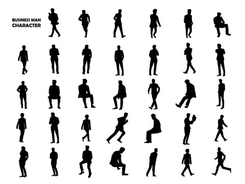 beautiful graphic design silhouette of businessman character