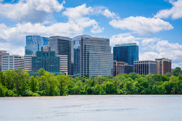 View of the Rosslyn skyline in Arlington from Georgetown, Washington, DC.
