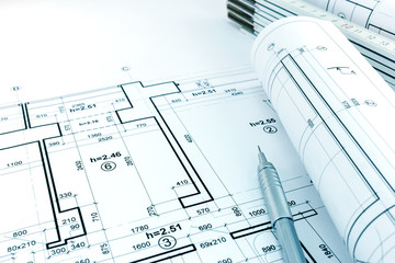rolled architectural plans and projects of apartment arrangement with measurements
