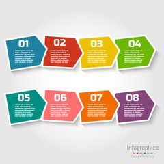 Step by step infographic design with numbers and text can be used for workflow layout, diagram, chart, number options, web design