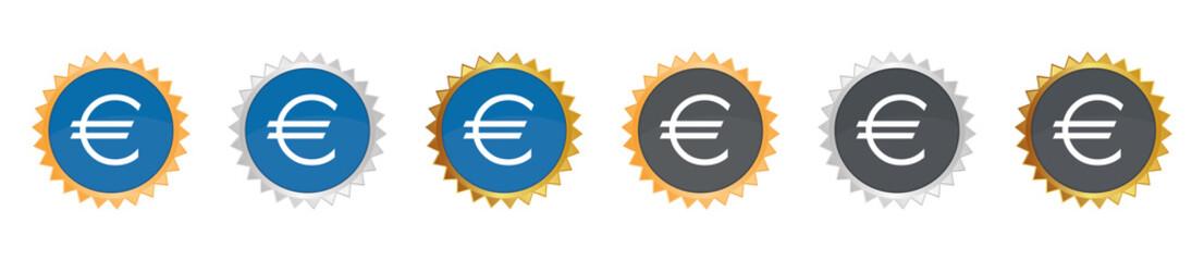 Euro Zeichen - Gezacktes Button-Set