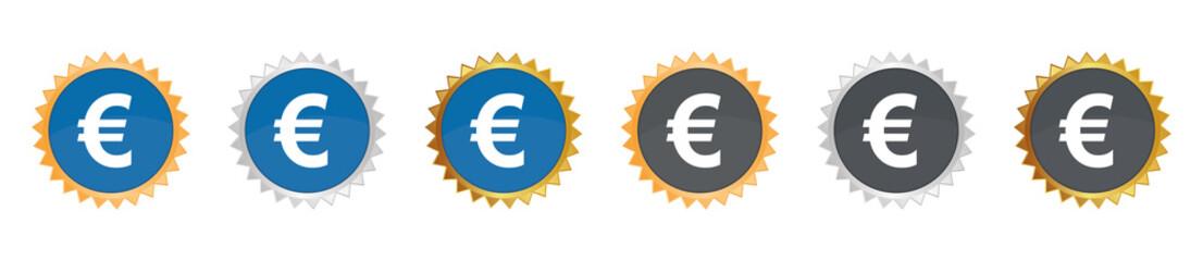 Euro - Währung - Gezacktes Button-Set