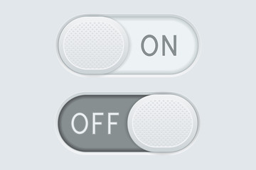 Toggle switch buttons ON and OFF