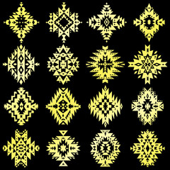 Vector aztec, tribal elements. Ethnic set