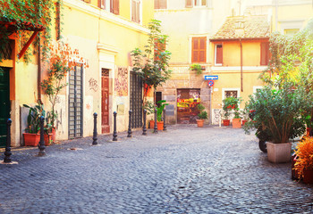 typical italian street in Trastevere with green plants, Rome, Italy, retro toned
