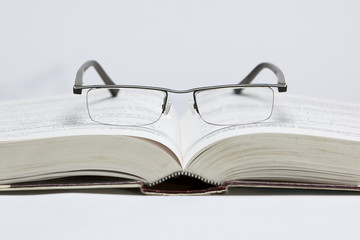 Glases on book
