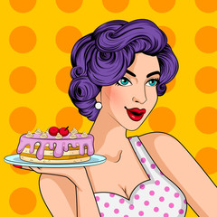 Pop art style retro lady serving delicious cake in Bakery