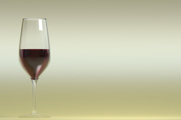 Realistic cup of red wine
