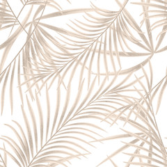 Seamless floral pattern. Gold palm leaves on a white background.