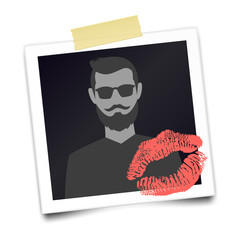 Vintage realistic photo frame with bearded man silhouette and lipstick mark. Photographic with adhesive tape. Template photo design. Romantic card for Valentines day. Vector illustration.