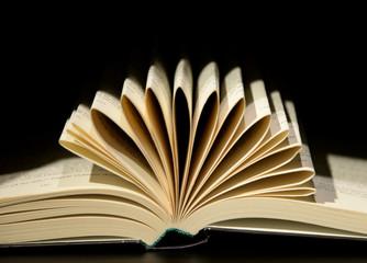 book open in dark background