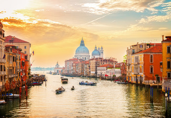 Poster Venetie Grand canal and Basilica Santa Maria della Salute, Venice in sunrise light, Italy, retro toned