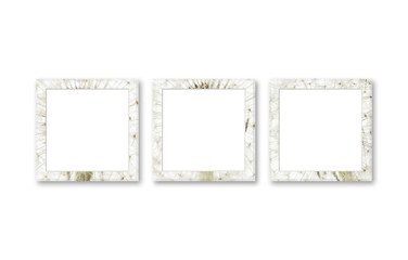 Three stylish photo frames designed with floral print, interiors decor mockup