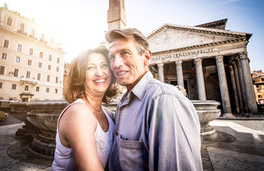 Couple of seniors on vacation in Rome