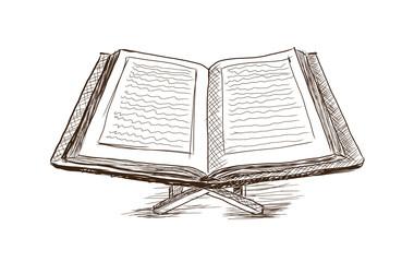 Hand drawn sketch of Koran in Vector illustration.
