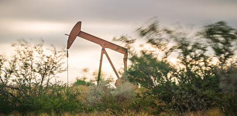 Oil and gas well fracking equipment in the field