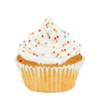Watercolor cupcakes with cream and decorative sprinkles