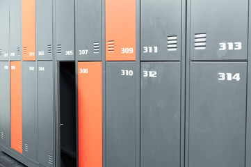 Locker-room with colorful lockers.