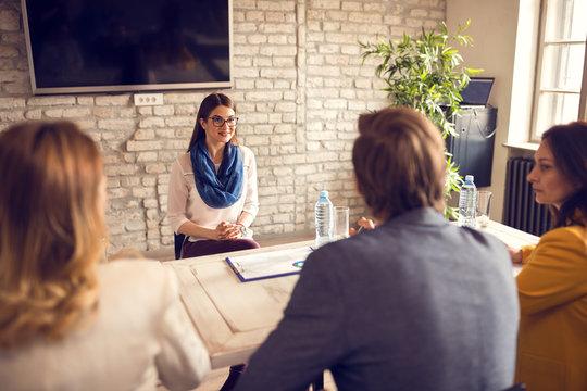 Female on job interview