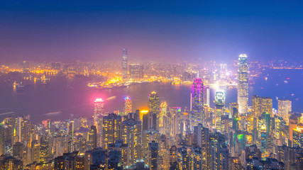 Hong kong downtown the famous cityscape view of Hong Kong skyline during twilight time view from the Victoria peak the famous viewpoint in Hong Kong.
